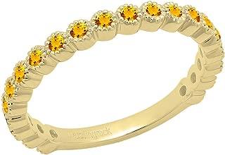 Dazzlingrock Collection 14K Round Gemstone Eternity Stackable Anniversary Wedding Band, Yellow Gold