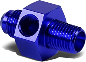 6-AN Flare to 3/8 inches NPT Bulkhead Fitting/Adapter+1/8 inches Pressure/Temp Port (Blue)