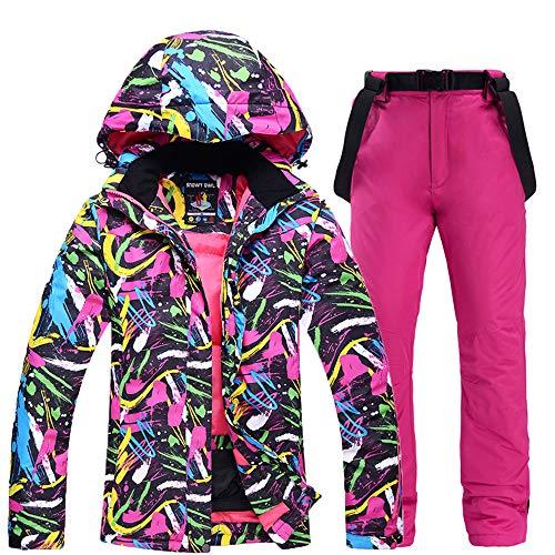 HHORD Frauen Buntes Ski Jacke Und Hose Set, Außen Windundurchlässige Wasserdicht Snowboard-Jacke Und Latzhose Anzug Für Outdoor Wandern,H,M