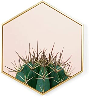 YJBear North Europe Hexagon Canvas Prints Artwork Wall Hanging Picture Cactus Painting Contemporary Wall Art for Home Office Decorations Wall Decor with PS Frame 15.7