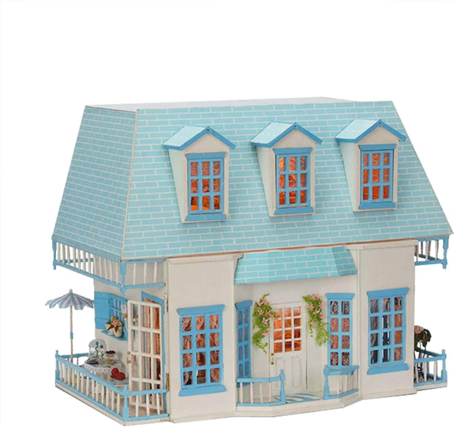 DIY Dollhouse Kit & Toys, 3D-Holzpuppen Haus Mbel (Music Movement + LED-Licht), Handmade Doll House Creative Birthday Gift, Sunshine Island