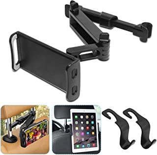 Car Headrest Mount with 2 Hangers Hooks, AFUNTA Universal Auto Seat Back Phone Holder Stand 360° Rotating Adjustable for A...