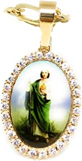 Gold Plated Saint Jude Pendant Necklace Figro 26