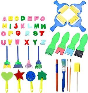 Sotoboo Esponja para Pintar con Delantal, Pinceles de Pintura para niños y Manualidades, 47 Piezas, Incluye Pinceles de Espuma, brochas de Esponja para Manualidades Sponge Colourful
