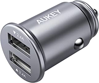 AUKEY Car Charger with 24W Output, Aluminum Alloy Flush Fit & 4.8A Dual USB Ports for iPhone Xs/Max/XR/X, iPad Air/Pro, Samsung Galaxy Note8 and More