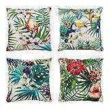 Xiangmall Fundas de Cojín 45x45 Cojines Decorativos Lino Funda de Almohada Cuadrada para Sofá Coche Casa Decoración (Plantas Tropicales)