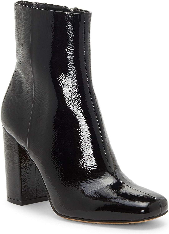 Vince Camuto Dannia Black Patent Square Toe Leather Square-Toe Booties Black