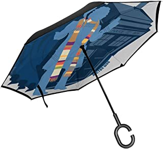 4th Doctor Who Silhouette Tom Baker Tardis Double Layer Inverted Umbrella For Car Reverse Folding Upside Down C-Shaped Hands - Lightweight & Windproof – Ideal Gift