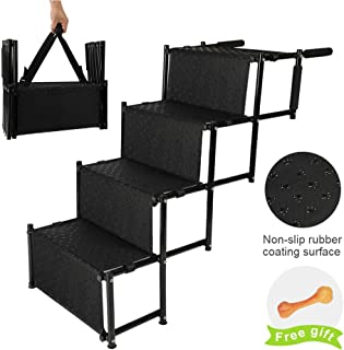 Niubya Upgraded Car Dog Stairs, Nonslip Foldable Metal Fram Pet Steps for Medium and Large Dogs, Lightweight Portable Dog Ramp with Waterproof Surface, Great for Height Bed, Cars, Trucks, and SUVs