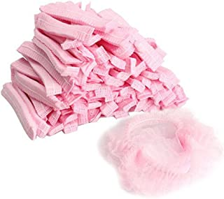 1Pack(100pcs) Non Woven Disposable Hair Shower Cap Pleated Anti Dust Hat Set (pink)