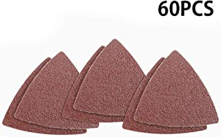 Meiyum Delta Sanding Set, Triangle Detail Sander Sandpaper Sanding Paper Hook and Loop Assorted 40/60/ 80/120/ 180/240/ 400/600/ 800/1000 Grits (Triangle+6 holes)