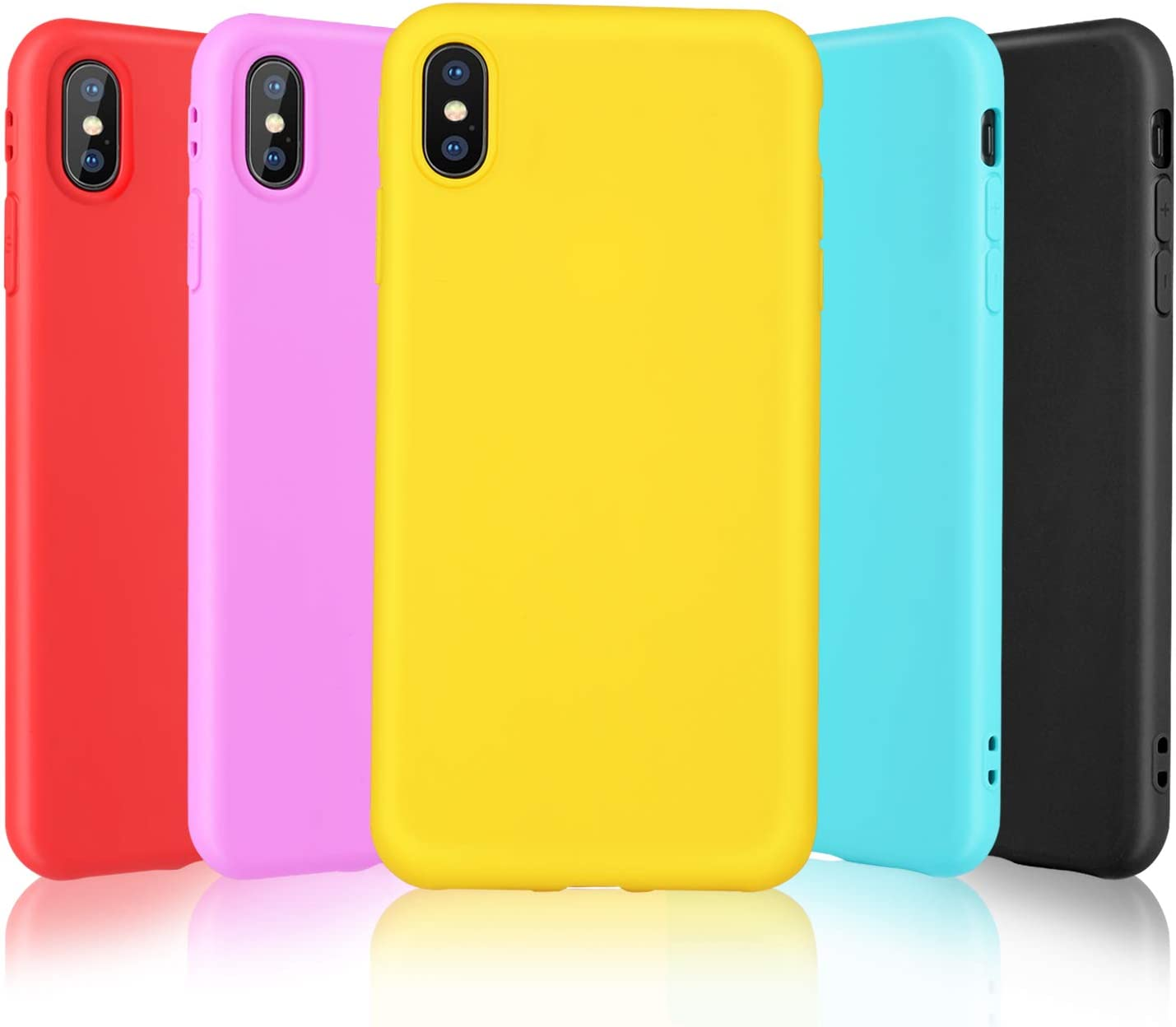 Pofesun Slim Fit iPhone Xs Max Case, 5Pack Soft Silicone Gel Rubber Bumper Case Shockproof Full-Body Protective Case Cover Compatible for iPhone Xs Max 6.5 inch (2018)-Black,Red,Rose,Yellow,Mint