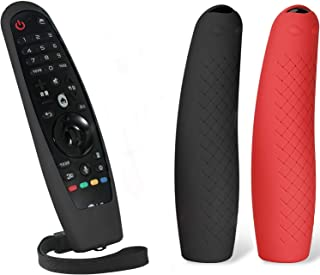 MWOOT 2 Unidades Mando Funda Compatible con LG Magic Remote AN-MR19BA AN-MR18BA AN-MR650 AN-MR600, Anti-caída Carcasas Silicona para LG Mando a Distancia Protection Negro y Rojo