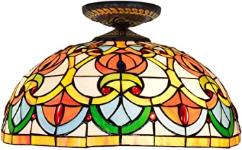 Tiffany Ceiling Fixture Lamp Semi Flush Mount 16 Inch Stained Glass Lampshade for Dinner Room Living Room Bedroom Library ...
