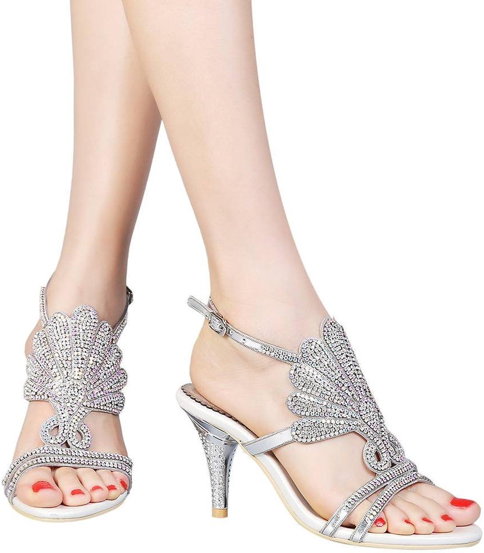 YooPrettyz Women Open Toe Heeled Sandals Slingback Sandals Prom Dress Heels Crystal shoes