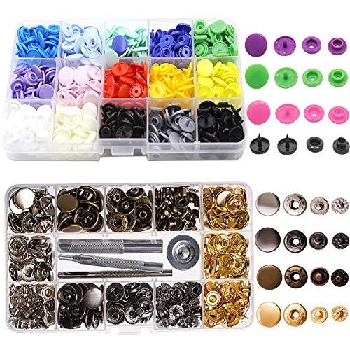 Liuer 190PCS Snaps Plástico Colores y Corchetes de Presion Metalicos con Caja Botones a presión para Manualidades y Merceria de Herramineta Conjunto(150pcs Plástico + 40pcs Metalicos)