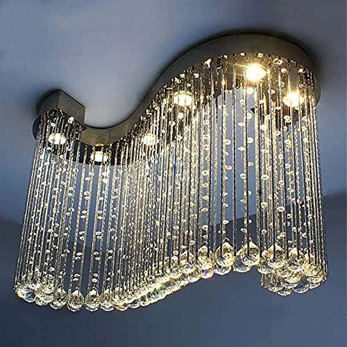 LATOO Lámparas de araña Candelabro Restaurante Candelabro Lámpara Colgante LED S-Lámpara de Cristal Original Dormitorio Sala de Estar con Techo Candelabro Bar 800 * 300 * 600 mm