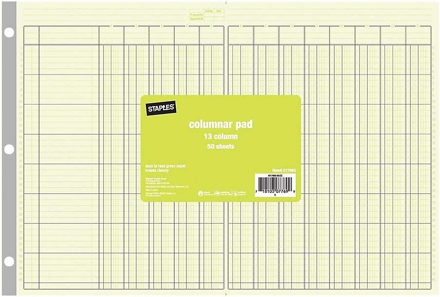 Staples 217893 Columnar Popularity Pads 13 Columns 16 16-Inch 11-Inch Max 55% OFF E x 5