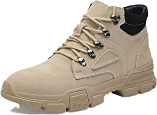 2019 Mens New Lace-up Flats Combat Boots for Men Ankle Shoes Lace Up Style Faux Suede Vamp Anti Slip Round Toe Stitched Metal Decor Contract Collar (Fleece Inside Option) Durable Breathable