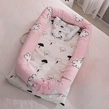 Super Soft Airballoon Dusty Rose Filibabba/® Baby Nest Baby Nest for Newborns and Toddlers Baby Sleeping pod in 85 x 50 cm GOTS Cotton