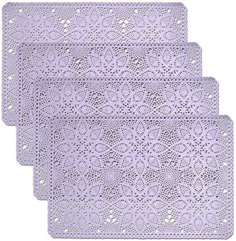 Cait Chapman Home Fashion Solid mart Rigid Lace Placemats Limited time for free shipping Purp Vinyl