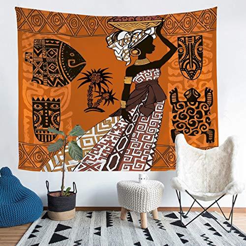 Tapiz tribal negro para colgar en la pared, tapiz étnico afro africano tradicional, decoración de pared exótica, decoración de pared para dormitorio, sala de estar, grande, 132 x 192 cm