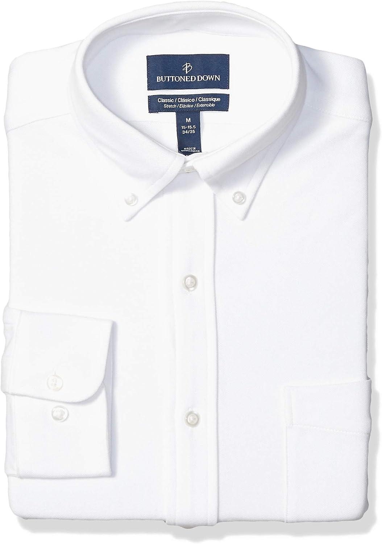 Buttoned Down Men's Classic Fit Stretch Knit Dress Shirt, Supima Cotton, Button-Collar
