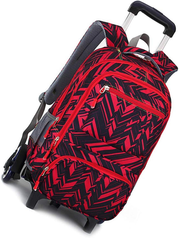 Camouflage Wheeled Kinder Schultasche Jungen Mdchen Trolley Rucksack(Rot 6 Rder)