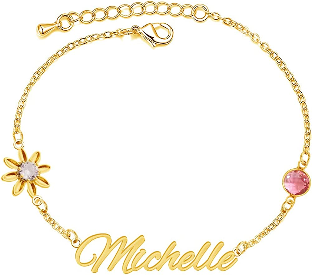 Sunnove Personalized Name Bracelets with Birthstone, 18K Gold Plated Engraved Cuff Bracelets Jewelry Gift for Women Girls