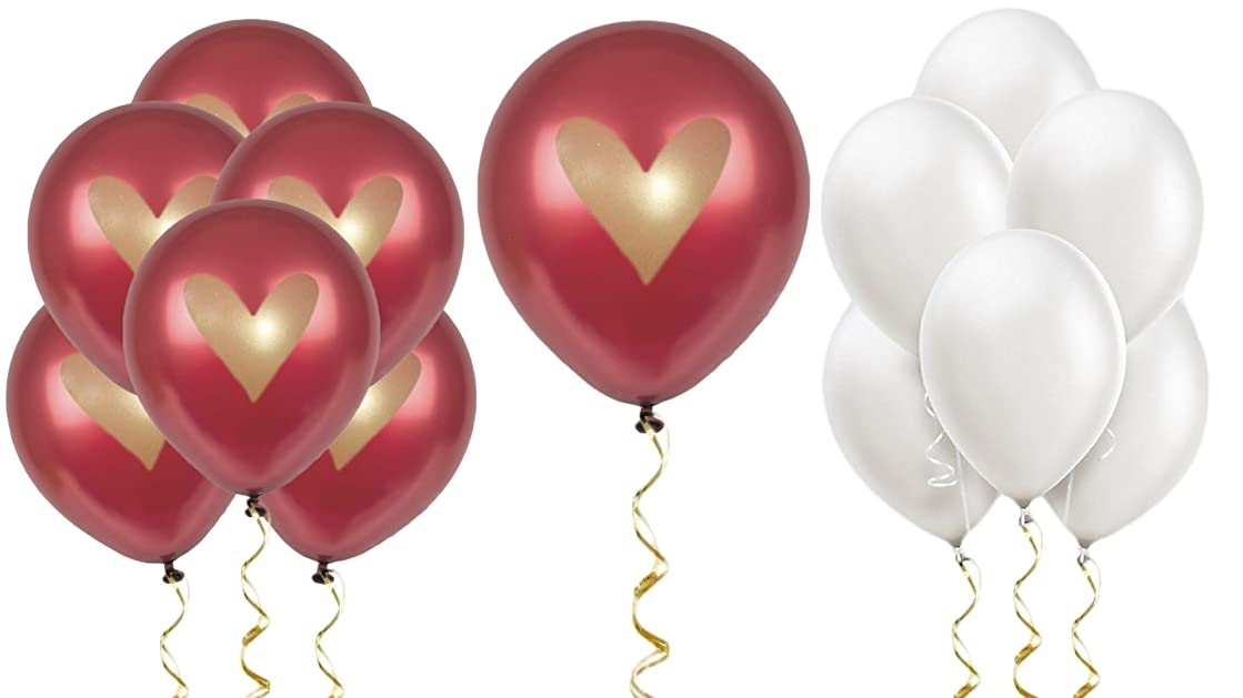 Burgundy Balloons Party Decorations Supplies Wine Red Gold Ink Heart Love 12