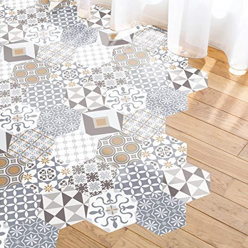 Azulejos sticker, vloer, cementtegels met beschermende laminaat van kunststof, zelfklevende tegels zeskant vloer, waterbestendig, 20 x 18 cm – 10 stuks