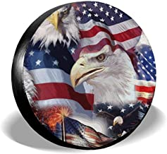 Car Tire Cover Rainproof Protective Cover Eagle American Patriotic Flag Water Proof Universal Spare Wheel Tire Cover Fit for Trailer, RV, SUV and Various Vehicles 14