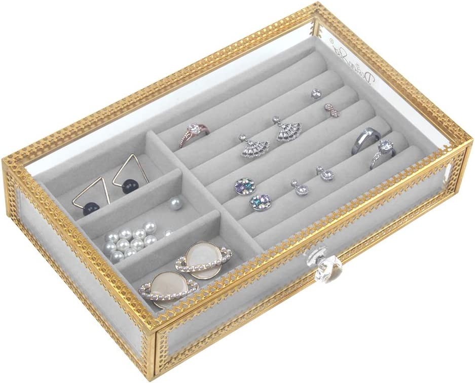 DesignSter Clear Glass Jewelry Box Removable Limited time sale with Store Velvet Drawer