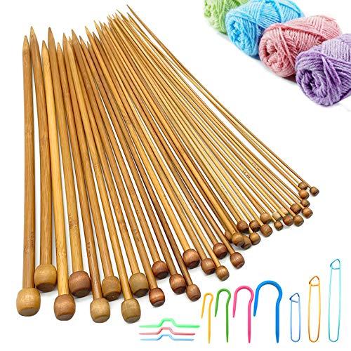 Agujas de Tejer, 36 Piezas de Agujas de Tejer de Bambú, Herramientas para Tejer Suéteres con Soportes para Puntadas de Cable para Principiantes y Profesionales (tamaño 18, 2-10 mm, 36 cm)