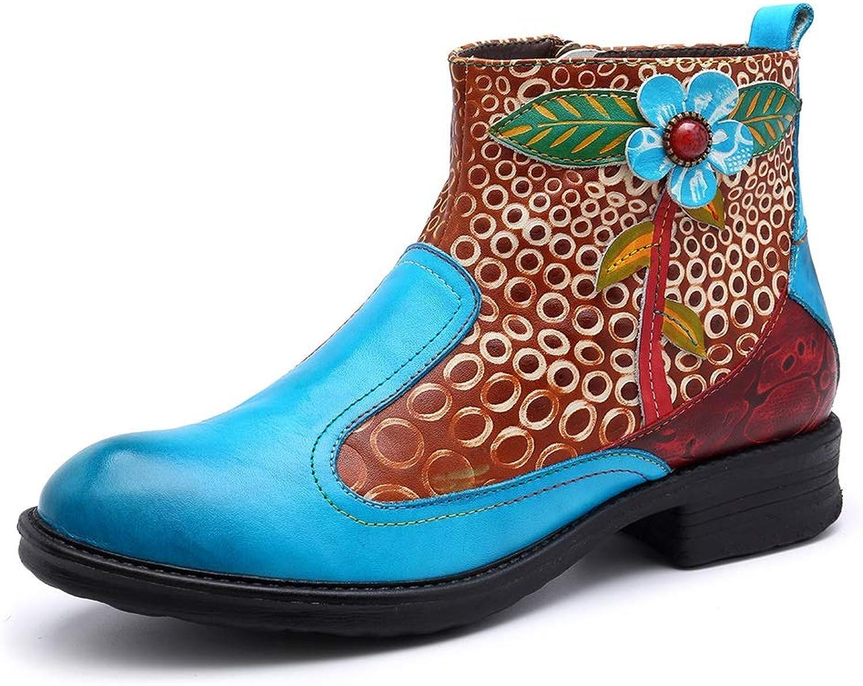 stövlar blå Färg Handgjorda läderskor Cowboy stövlar Contract (färg  blå, Storlek  9.5US)