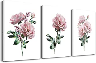 kitchen Wall Artworks Bedroom Decoration Canvas Wall Art for Living Room, 3 piece bathroom Wall decor Pink flowers on whit...