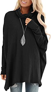 Women Turtle Cowl Neck Batwing Sleeve Waffle Knit Casual Loose Oversized Pullover Sweater Tunic Tops