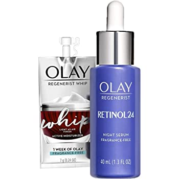 Olay Regenerist Retinol Face Serum, Retinol 24 Night Face Serum, 1.3oz + Whip Face Moisturizer Travel/Trial Size Bundle
