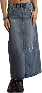 Women's Long Denim Skirt W/Back Slit