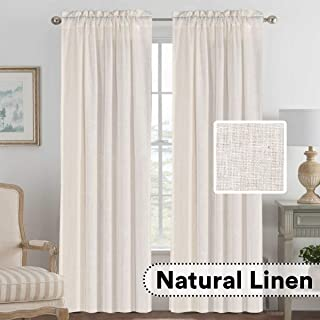H.VERSAILTEX Living Room Linen Curtains Home Decorative Privacy Window Treatment Energy Saving Rod Pocket Panels for Bedroom (Set of 2, Natural, 52x84 - Inch)