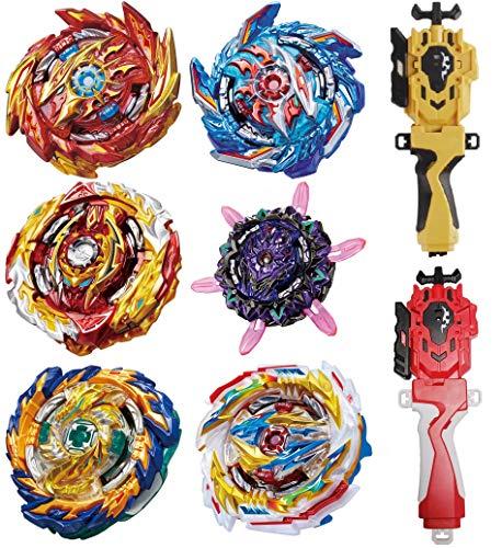 GiGimelon 6 Pcs Gyros + 2 Pcs Launchers Bey Burst Battle Set,Battling Tops, Stickers & Launchers Set, Kids Boys Birthday Christmas Party Gift Idea