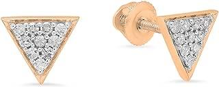 0.20 Carat (ctw) 14K Gold Round Cut Diamond Ladies Triangle Shape Stud Earrings 1/5 CT