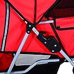 PawHut Pet Stroller Cat Dog Basket Zipper Entry Fold Cup Holder Carrier Cart Wheels Travel Red 16