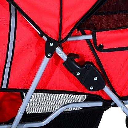 PawHut Pet Stroller Cat Dog Basket Zipper Entry Fold Cup Holder Carrier Cart Wheels Travel Red 7