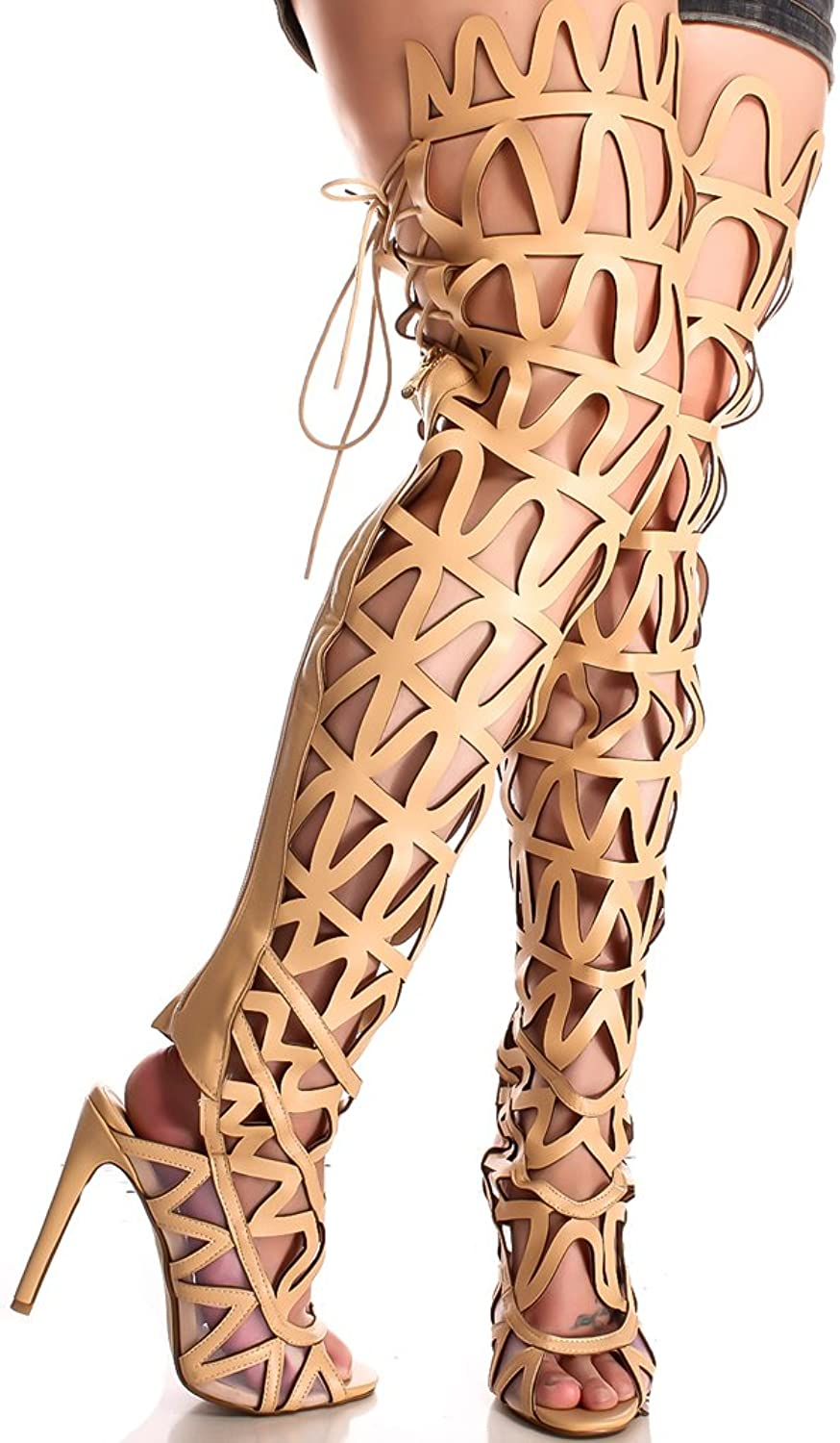 Lolli Couture Forever Link Faux Leather Lace up Long Combat Style with Heel Knee High Long Boots