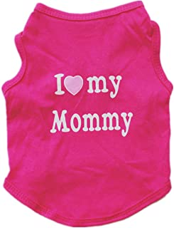 Alroman Puppy Vest Fuchsia Dogs Shirts for Mother's Day with I Love My Mommy Letters Small Clothing for Pet Cats Tee M Dog...