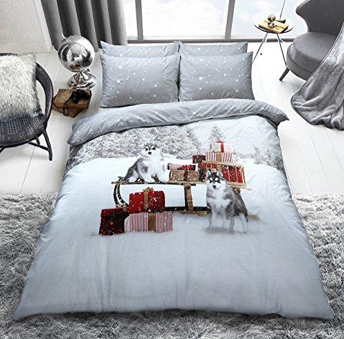 Sleepdown Winter Huskies Quilt Duvet Cover With Pillow Case Bedding Set For Christmas (Single)
