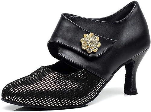 Fuxitoggo zapatos de Baile Modernos para mujer, zapatos de Fondo Latino Suaves zapatos de Baile (Color   negro, tamaño   Foot Length=23.3CM9.2Inch)