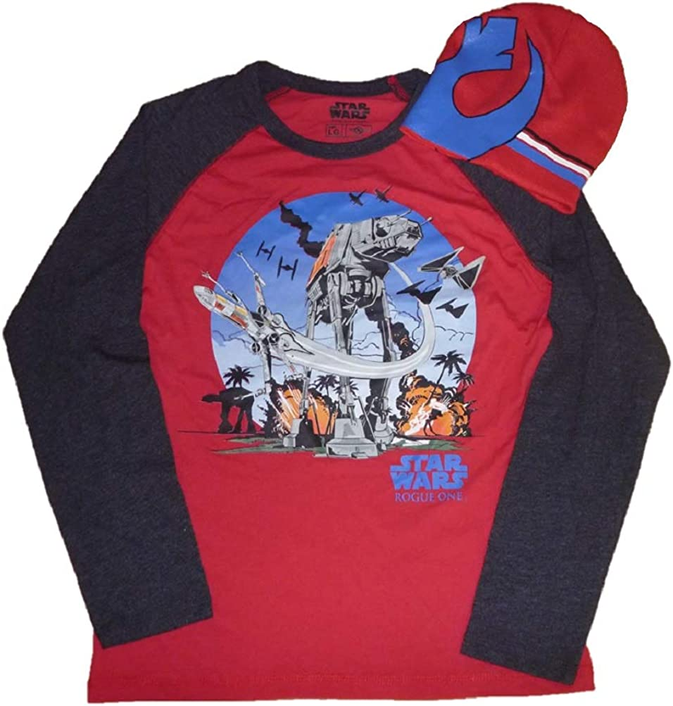 Boys Star Wars Rogue One at -ACT Battle T-Shirt & Beanie Hat Set Size Large Red Gray