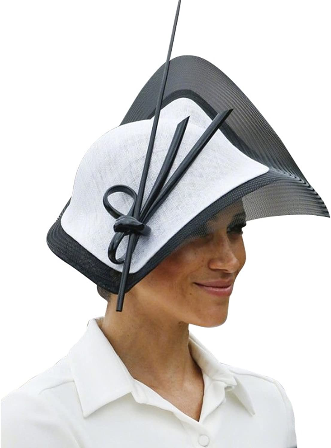 June's Young Fascinators Hat Sinamay Tea Party Headwear Girls Women Black White color